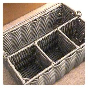Grey wicker storage basket